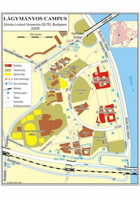 elte térkép A lágymányosi campus térképe | ELTE Reader elte térkép